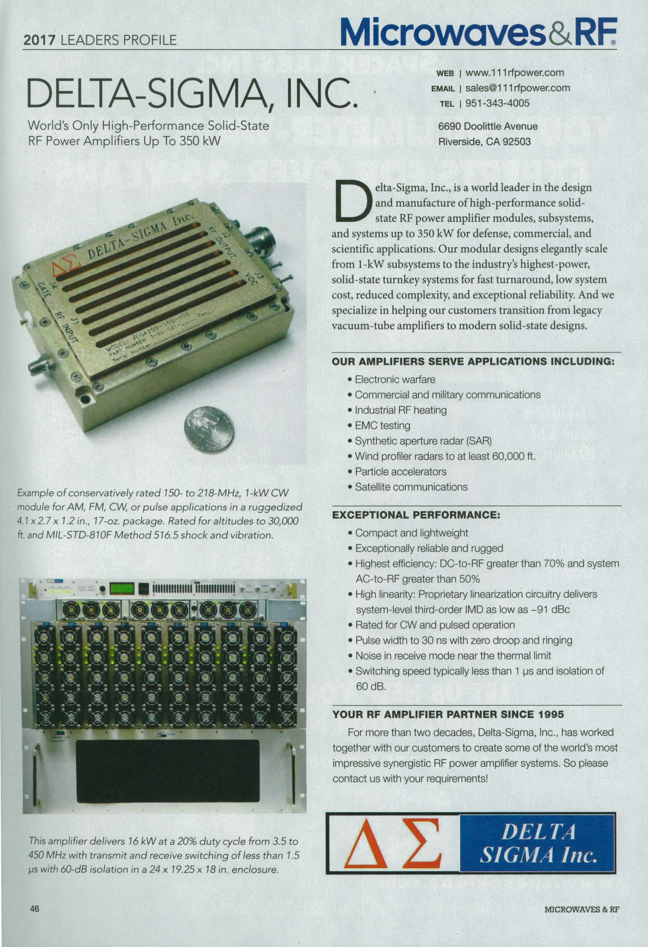 The World's ONLY High-Performance Solid-State RF Amplifiers Up To